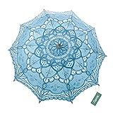 TopTie Wedding Lace Parasol Umbrella Victorian Lady Costume Accessory Photo Prop-LightBlue-120 PCS