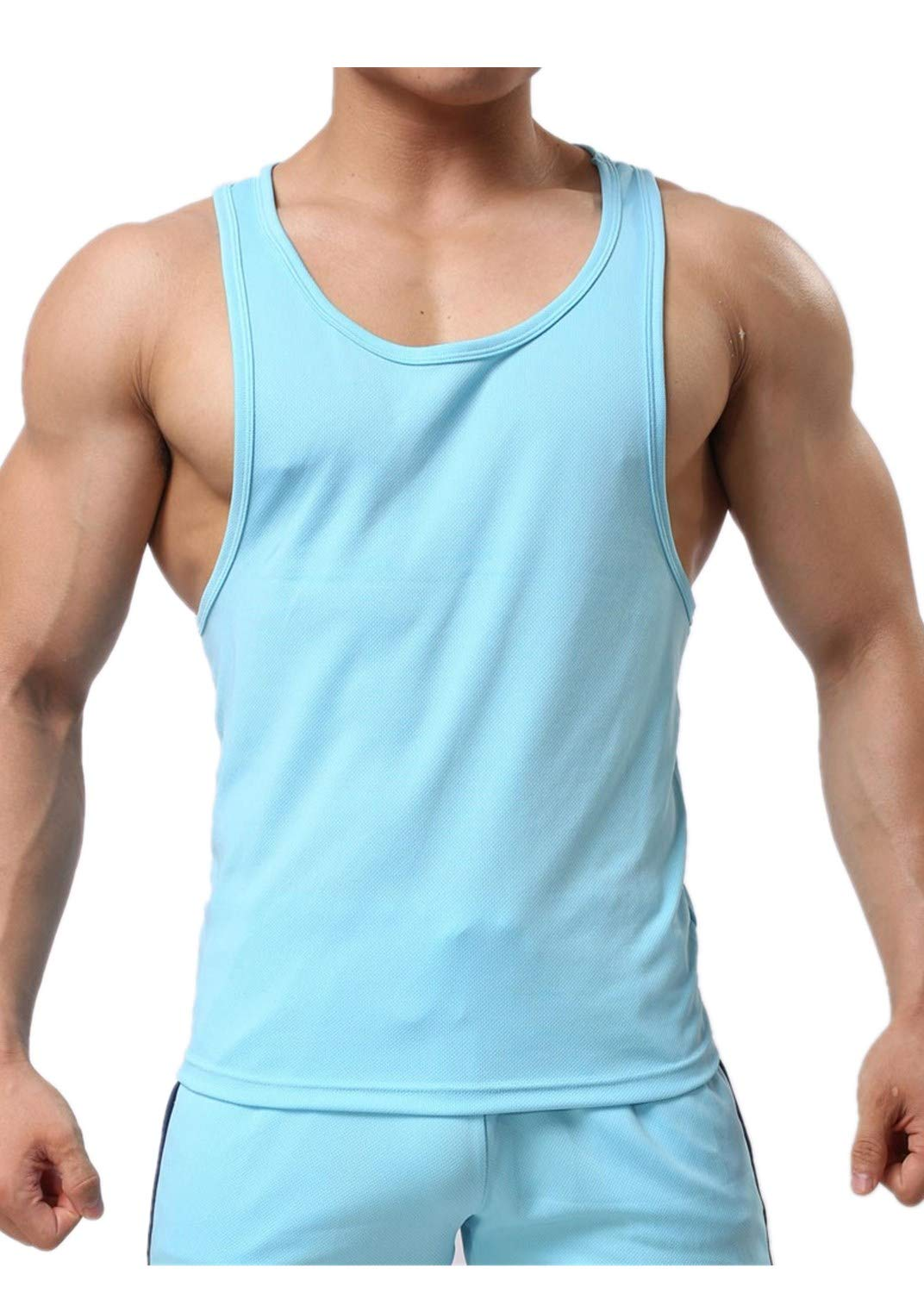 Men's Sleeveless Solid Tank Top Type I-Shaped Vest Quick-Drying Fitness Blouse Casual T Shirts