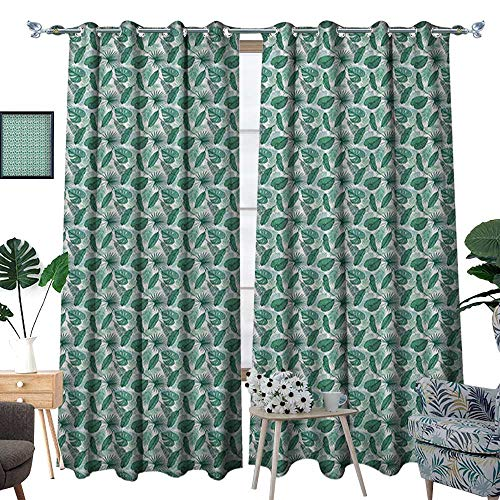 Warm Family Banana Leaf Thermal Insulating Blackout Curtain Monstera Areca and Fan Palm Leaves in Green Artistic Natural Pattern Patterned Drape for Glass Door W84 x L108 Jade Green White