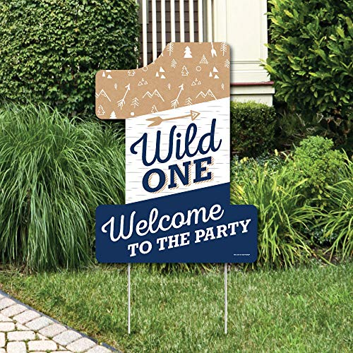 1st Birthday Yard Sign (Big Dot of Happiness He's a Wild One - Party Decorations - 1st Birthday Party Welcome Yard)