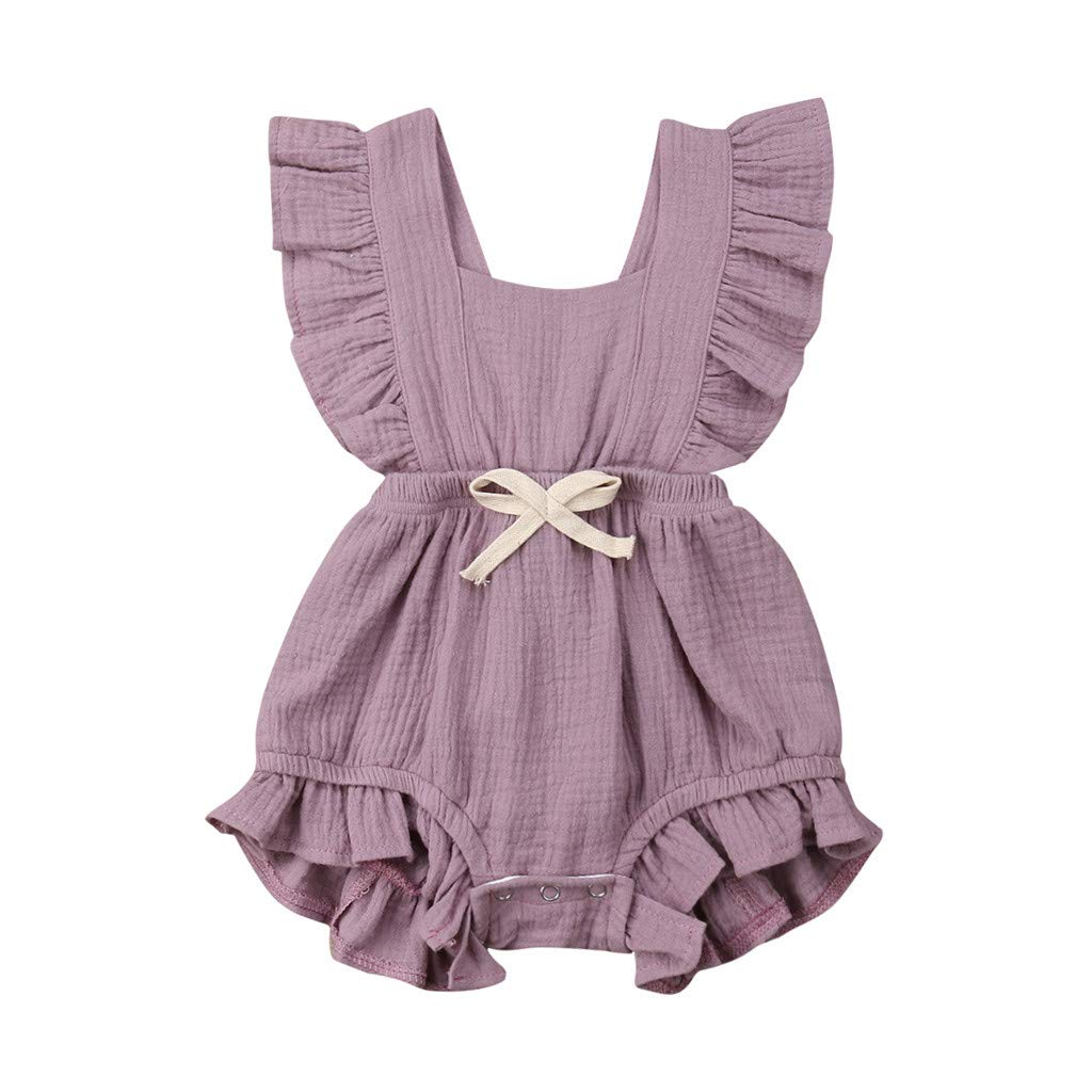 Toddler Jumpsuit Boy 3T,Newborn Infant Baby Girls Color Solid Ruffles Backcross Romper Bodysuit Outfits,Purple,3-6M