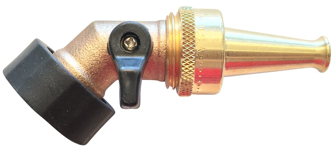 Water Jet Nozzle Solid Brass Sweeper Sprayer for Garden Hose with Heavy-duty Solid Brass Angle Water Shut-off Valve