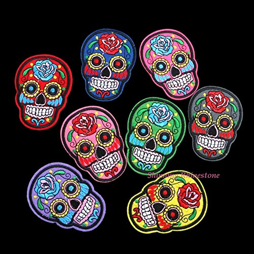 8pcs/lot 2017 Mix Color Flower Skull Skeleton Embroidery Iron On Patches Clothes Appliques Sew On Motif Badge DIY Clothing Bag