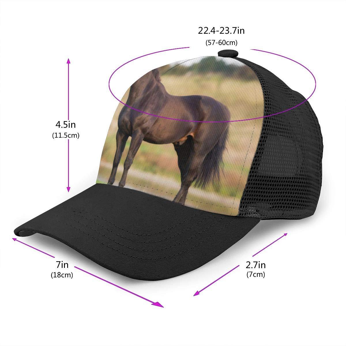 Mens The Black Horse Flat Baseball Cap Vintage Trucker Hat for Unisex