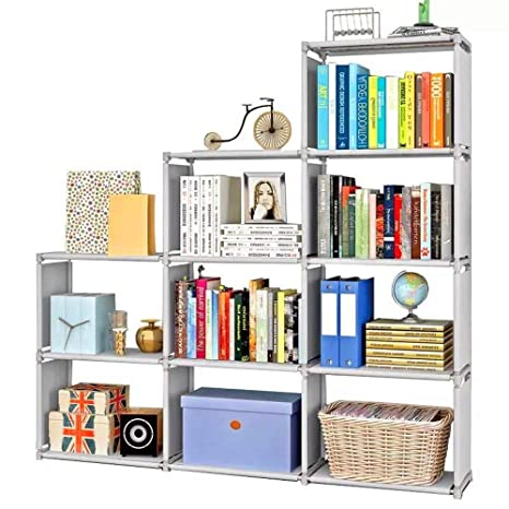 Aggice 9 Cube Diy Children S Bookshelf 3 Tier Adjustable Storage Bookcase Folding Storage Shelves Grey