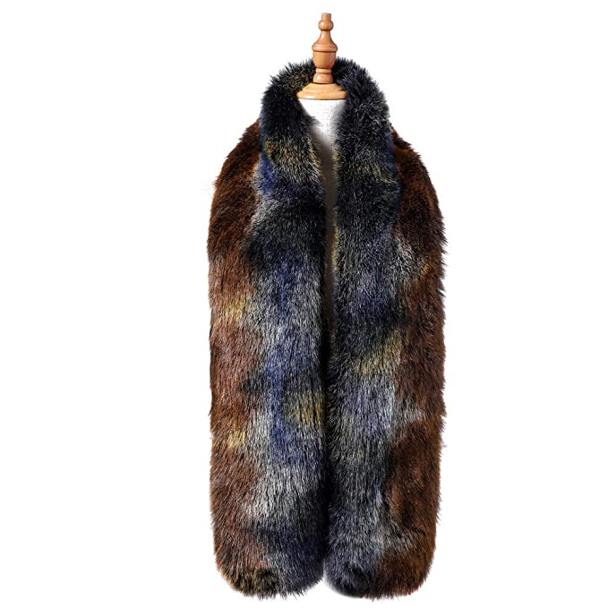 e4729e9cd Dikoaina Women's Fashion Colorful Winter Faux Fur Scarf Collar Wrap Stole  Shawl at Amazon Women's Clothing store: