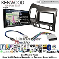 Volunteer Audio Kenwood DNX874S Double Din Radio Install Kit with GPS Navigation Apple CarPlay Android Auto Fits 2006-2011 Honda Civic (Earth Taupe Brown)