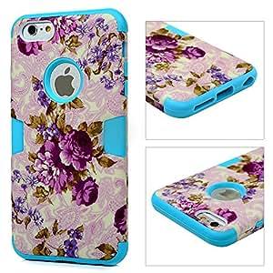 iPhone 6 Plus/6S Plus Funda - Lanveni® 2en1 Elegante Carcasa Suave TPU Silicona y PC Hard para iPhone 6 Plus/6S Plus 5.5 pulgadas flores Pastorales diseño Case Cover - Azul