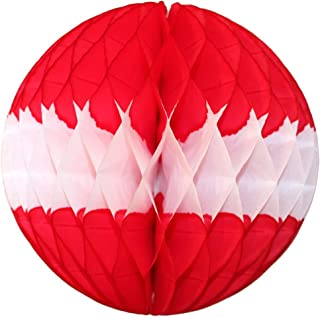 product image for 3-Pack 12 Inch Honeycomb Tissue Paper Ball Decoration (Red/White)