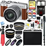 Fujifilm 16568913 X-A5 Mirrorless Digital Camera w/XC 15-45mm f/3.5-5.6 OIS PZ Lens Kit (Brown) + 64GB Memory & Flash Accessory Bundle