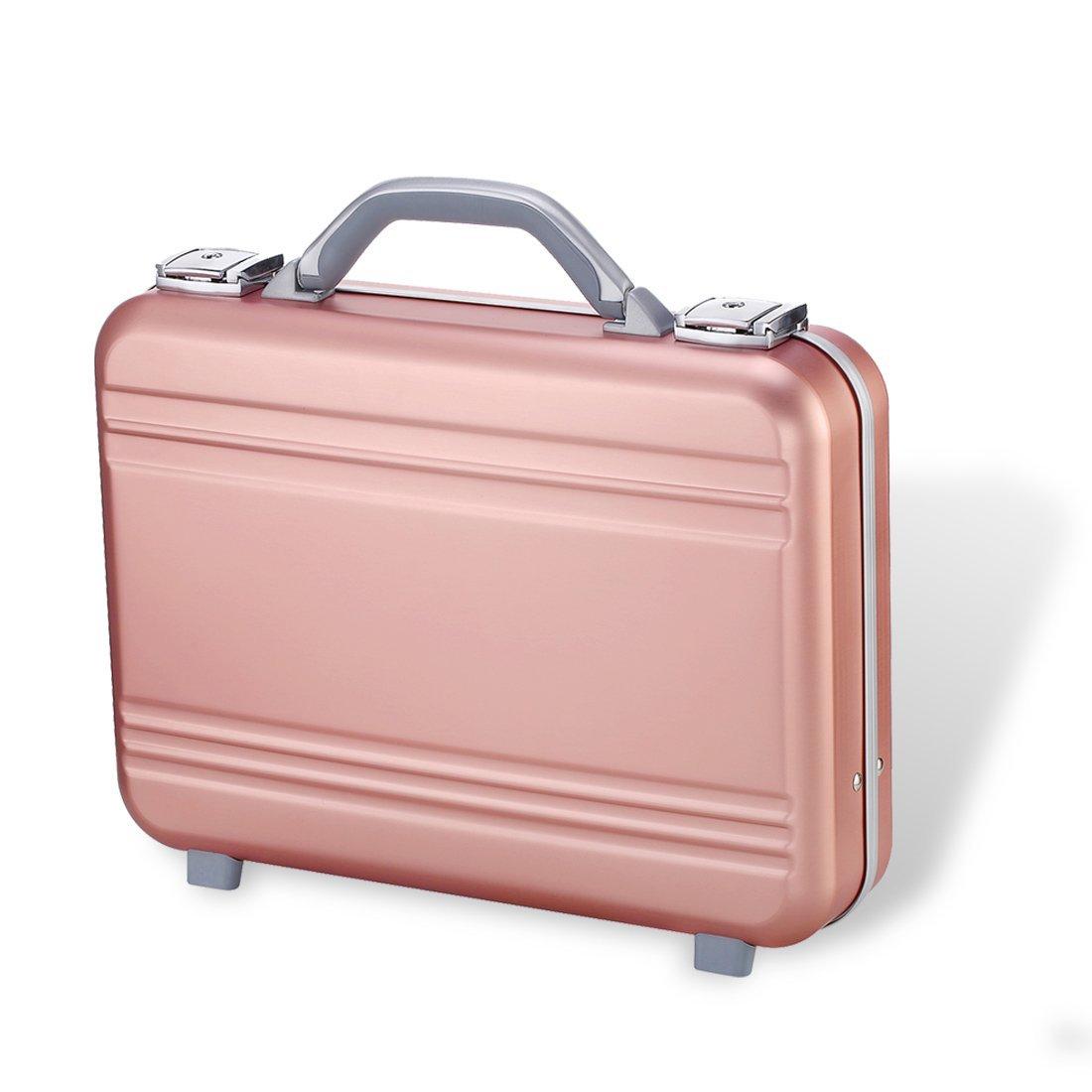 Attache case Metal Aluminum for men women Business foam gun tool writing Organizer Laptop Briefcase small larger silver (Gold, 14.6X10.6X3.7 Inch)