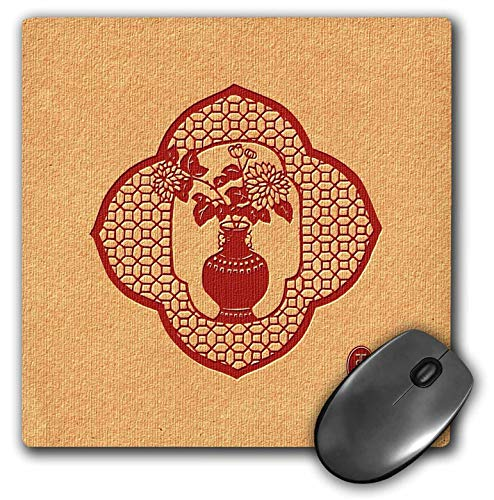 - 3dRose Russ Billington- Beautiful China Series - Chinese Vase and Flowers in Quatrefoil Motif - Mousepad (mp_238802_1)
