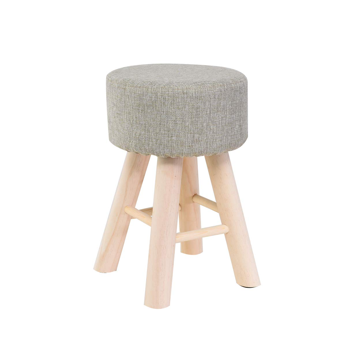A Vanity Seat Stool Makeup Dressing Stool Solid Wood Small Stool Linen Change shoes Bench Living Room Kitchen Chair (Height 18.1in),b