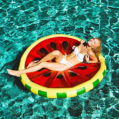 WLWWY Giant Inflatable Red Watermelon Life Buoy, Outdoor Swimming Pool Floatie Float Lounge Toy Bed With Rapid Valves For Adults, Kids 140  20Cm(Air Pump)