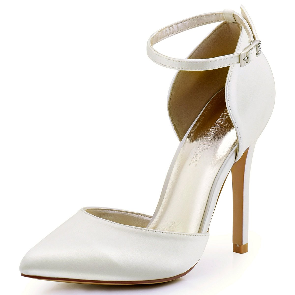 ElegantPark HC1602 Women's Pointed Toe High Heel Ankle Strap D'Orsay Pumps Satin Wedding Dress Shoes Ivory US 10