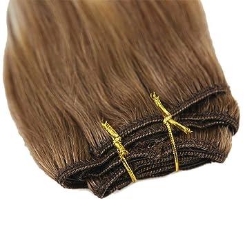 Youngsee 7 Tressen Haarverlängerung Clips Echthaar Braun Mit Blond
