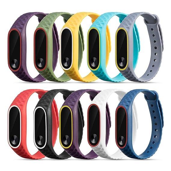 Bestow Xiaomi Mi Band 2 10PC Pulsera de Reloj de Pulsera de Silicona Correa de Reloj de Pulsera de Reloj Elegante Reloj Electronics Gadgets Reloj de ...
