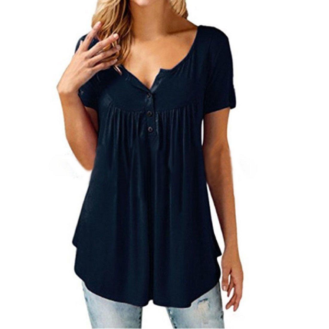 Yoofashion Womens Casual T Shirt Solid Summer Sleevel Plain Short Cotton Dress Black