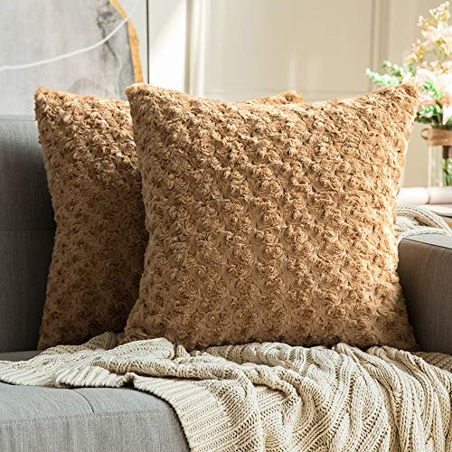 MIULEE Pack of 2 Decorative Throw Pillow Covers Luxury Faux Fuzzy Fur Super Soft Cushion Pillow Case Decor Brown Cases for Couch Sofa Bedroom Car 18 x 18 Inch 45 x 45 cm (Camel Couch Brown)
