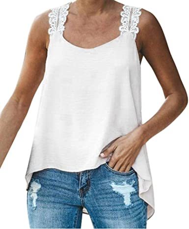 VJGOAL Mujer Verano Tallas Grandes de Moda Casual Sin Mangas con Cuello en v de Encaje Color sólido Chaleco Blusa Sexy Suelta Tops Camiseta: Amazon.es: Ropa y accesorios