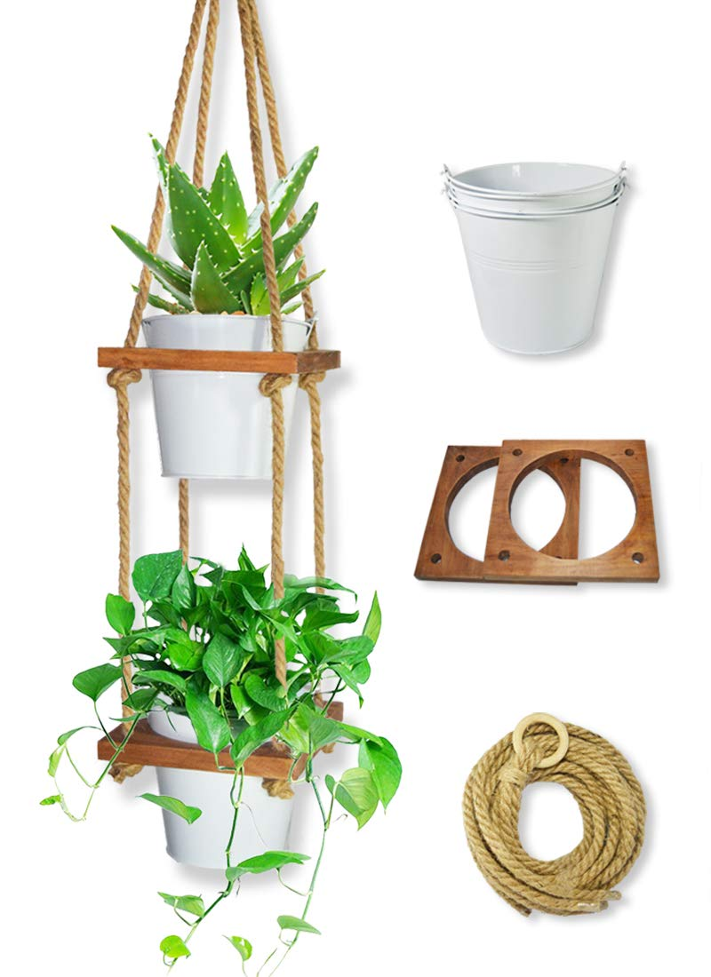 Lesen 2 Tier Metal Pots Wood shelves Hanging Planter for Indoor Outdoor Plant Hanger Wall Plants Holder for Succulents Herbs or Ivy Crawling Plants,Rustic Home Decor