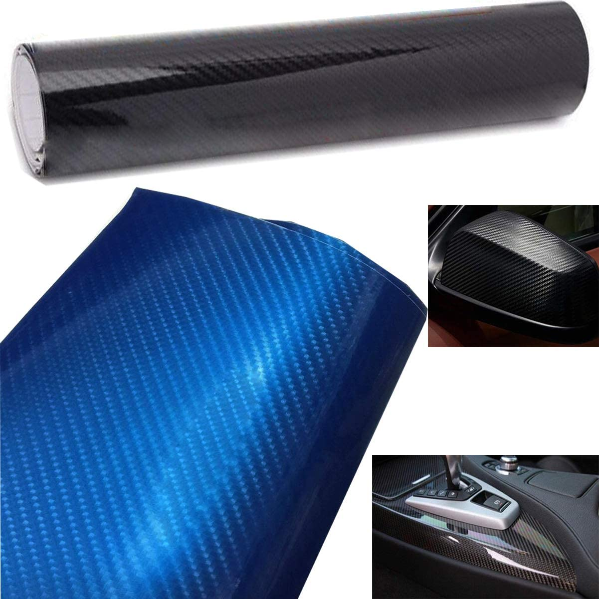 Liuer Adesivi Auto 6D Pellicola Adesiva Carbonio Rivestimento Adesivo Adesiva Fai da Te per Auto Car Stickers Wrapping Auto e Moto 152CMx20CM Nero,Blu