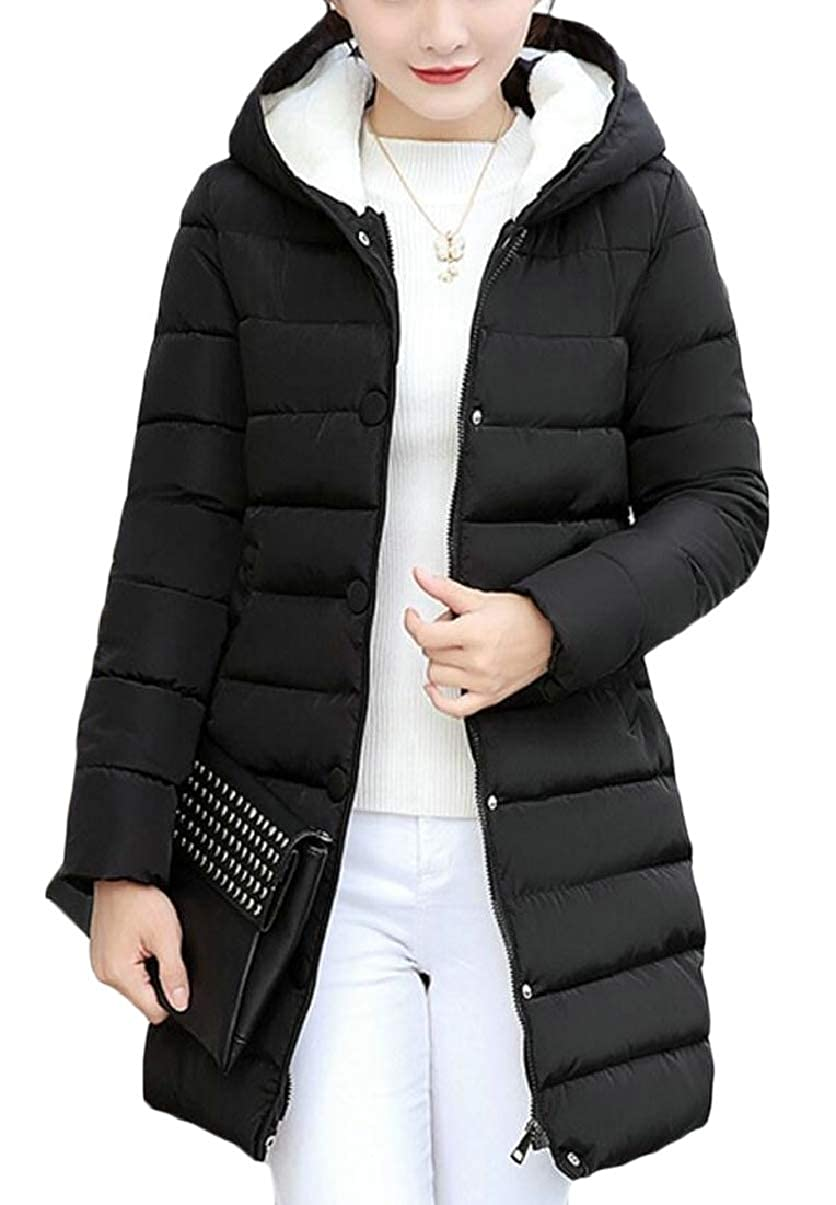 Black ZXFHZSCA Womens Thicken Slim MidLong Hooded Solid color Coat Jackets Pocket