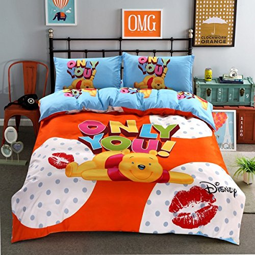 Ln 4 Piece Kids Cute Girls Winnie The Pooh Duvet Cover Queen Set, Polka Dot Kisses Disney Bedding Wini The Bear Cartoon Children Orange Blue Yellow Red, Polyester - Kids Polka Dot Bear