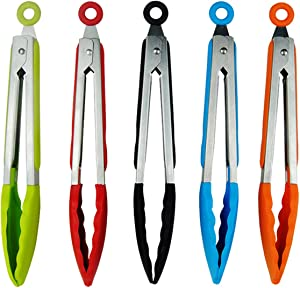 5 Pcs Mini Tongs Silicone Tongs, 7 Inch Small Tongs for Cooking with Silicone Tips, Stainless Steel Salad Tongs Cooking Tongs for Salad, Grilling, Frying and Cooking (Green, Red, Black, Blue, Orange)