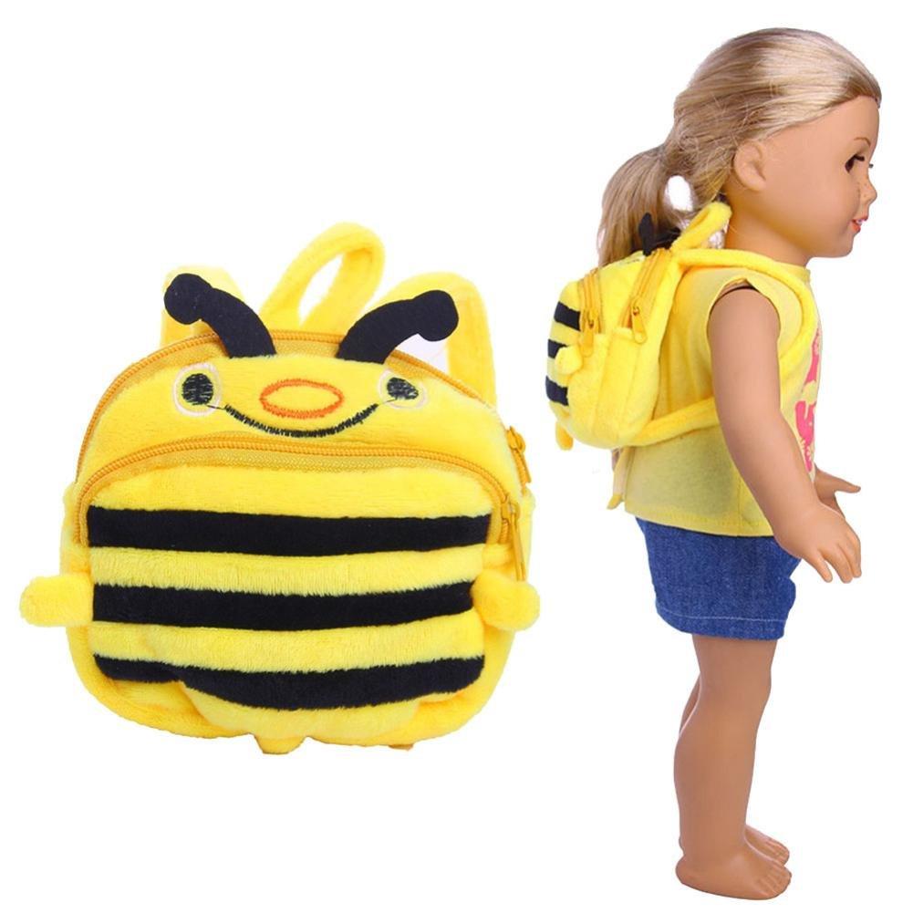 YUYOUG Puppen Kleidung Süße Honeybee Doppelgurte Rucksack Schultasche für 18 Zoll American Girl Doll und Anderen 16 Zoll 18 Zoll Puppen