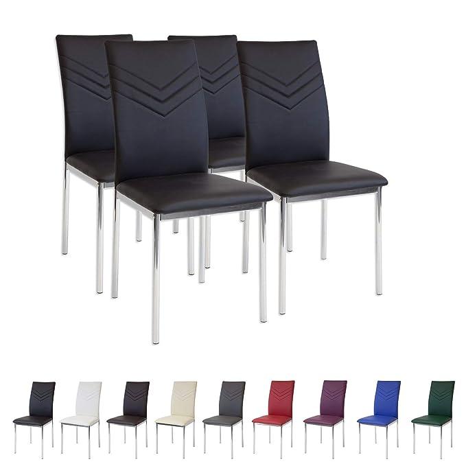 150 opinioni per Albatros 2934 Verona Set di 4 sedie da Pranzo, Nero, Piede Cromato, SGS Tested