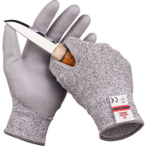 (SAFEAT Safety Grip Work Gloves for Men and Women – Protective, Flexible, Cut Resistant, Comfortable PU Coated Palm. Size Medium, Free eBook Gift Included!)