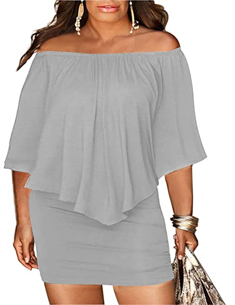 Chicgal Womens Off Shoulder Ruffle Bodycon Club Dress Grey 5XL at ...