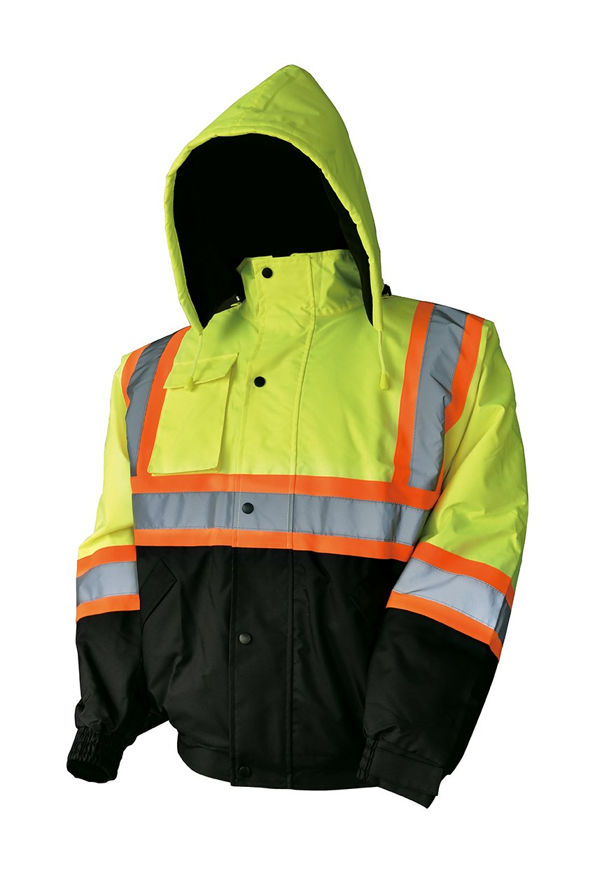 LM High Visibility Class III Reflective Waterproof Bomber Jacket W/Removable Hood (2XL, HJL)
