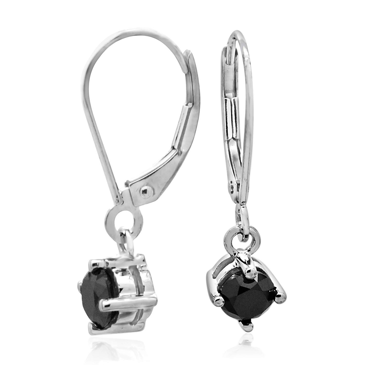 1.00 CT Round Cut Black CZ Lever Back Dangle Earrings 925 Sterling Silver
