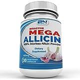 Mega Allicin 100% Allicin from Garlic 180mg/30 count vCaps, Odorless, Non-GMO, and Gluten-Free (30 Count)