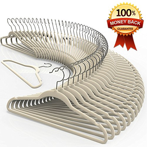 Premium Quality Velvet Hanger Set of 50 - Ultra -Thin No Slip Velvet Suit Hangers - Swivel Hooks, Stronger Than Standard Velvet Hangers - Space Saving Clothes Hangers - Ivory ()