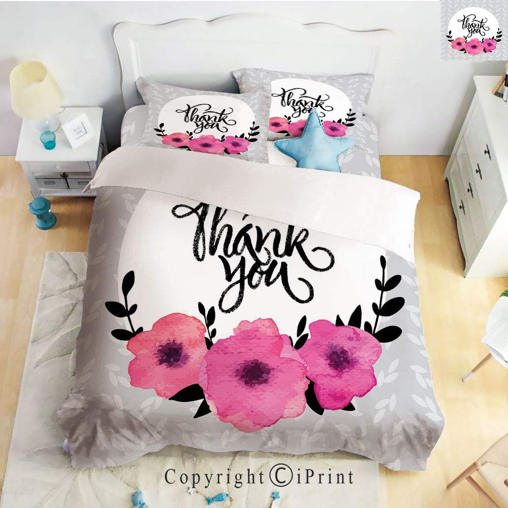 Homenon Classic Sheets 4 Piece Bed Sheet Set,Rounded Thank You Quote Above Purple Flowers Behind Leaf Ivy Background,Grey and White,Twin Size,Softest Bed Sheets and Pillow Cases