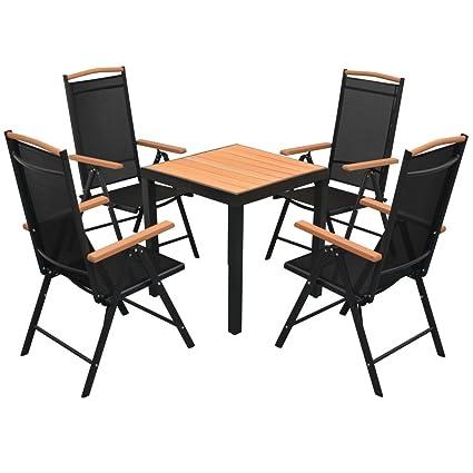 Tidyard Table de Jardin d\'extérieur 5 pcs Aluminium WPC pour Salon, Jardin,  Patio Noir et Marron 80 x 80 x 74 cm