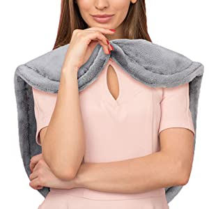 """Heating Wrap for Back, Heating Pad for Neck and Shoulders Heat Therapy Pad for Back Pain, Relief Fatigue and Muscular Soreness Fast Heat-up and Auto Shut-Off (25"""" X 26"""" Gray)"""