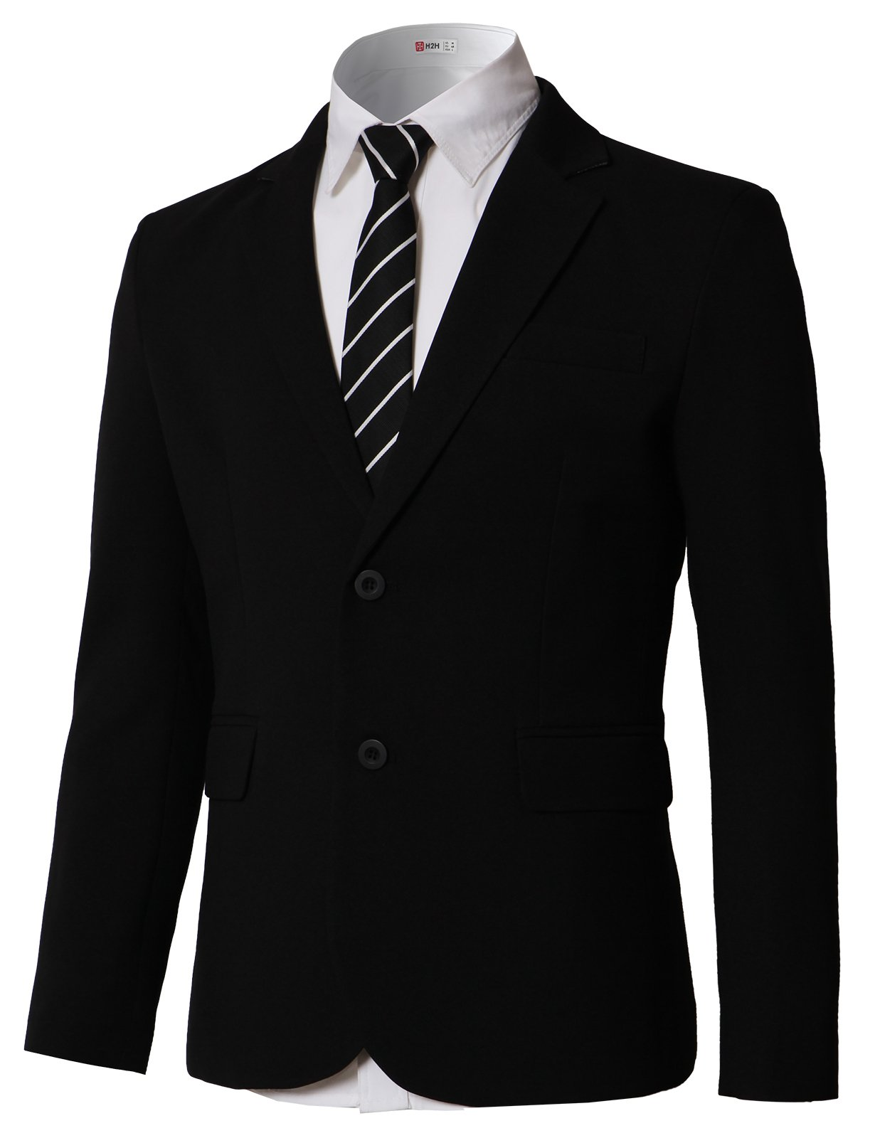 H2H Mens Casual Slim Fit One Button Autumn Business Sport Coat Outwear Black US S/Asia L (KMOJA0391)