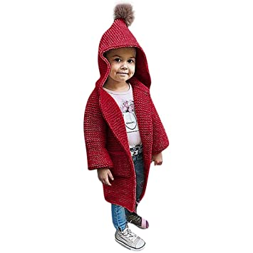 0f89253b0 Amazon.com   Kids Clothes Baby Girls Warm Coat Solid Hooded Knitted ...