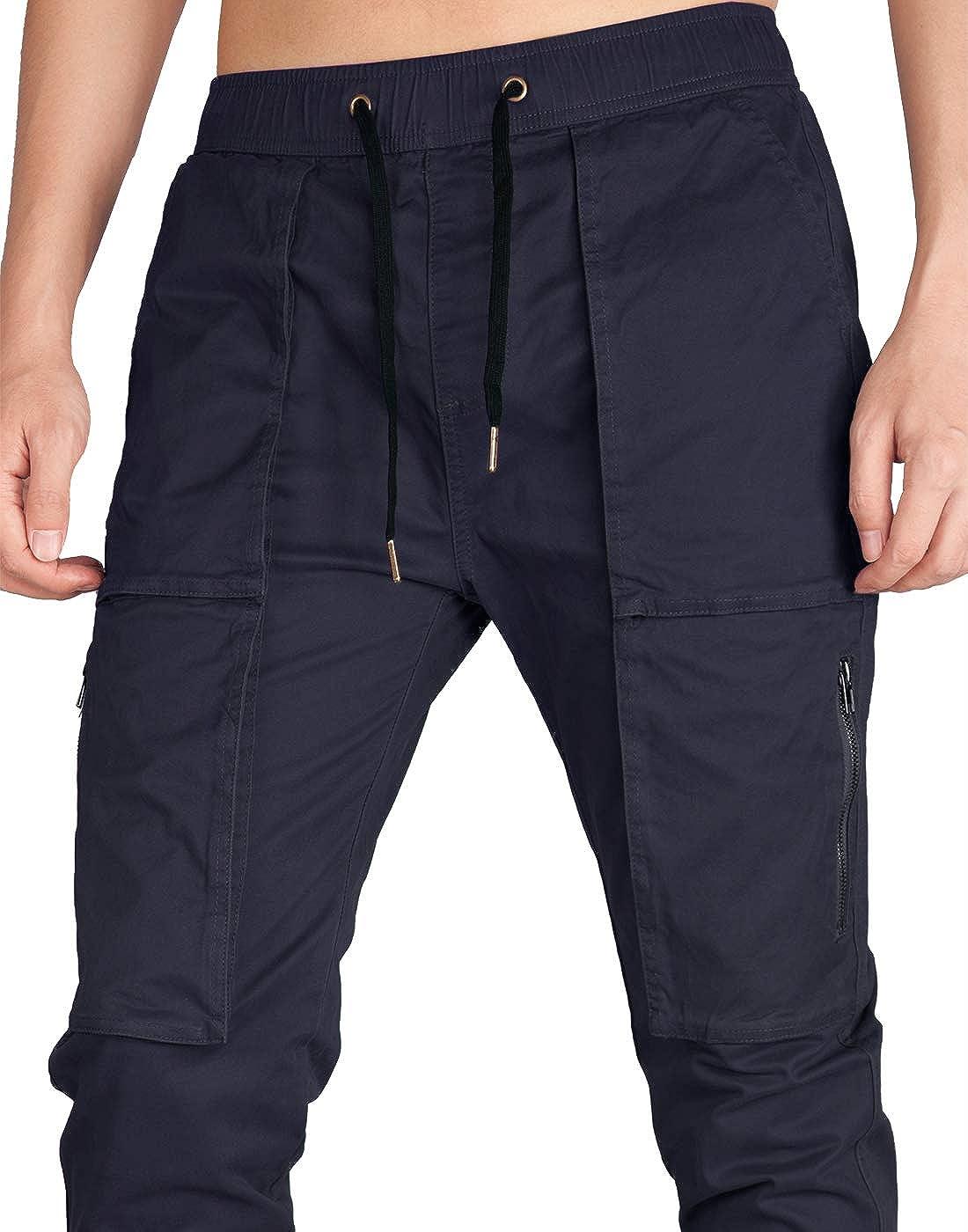 ITALY MORN Pantal/ón para Hombre Cargo Slim Jogging Casual Algod/ón Negro 12 Colores