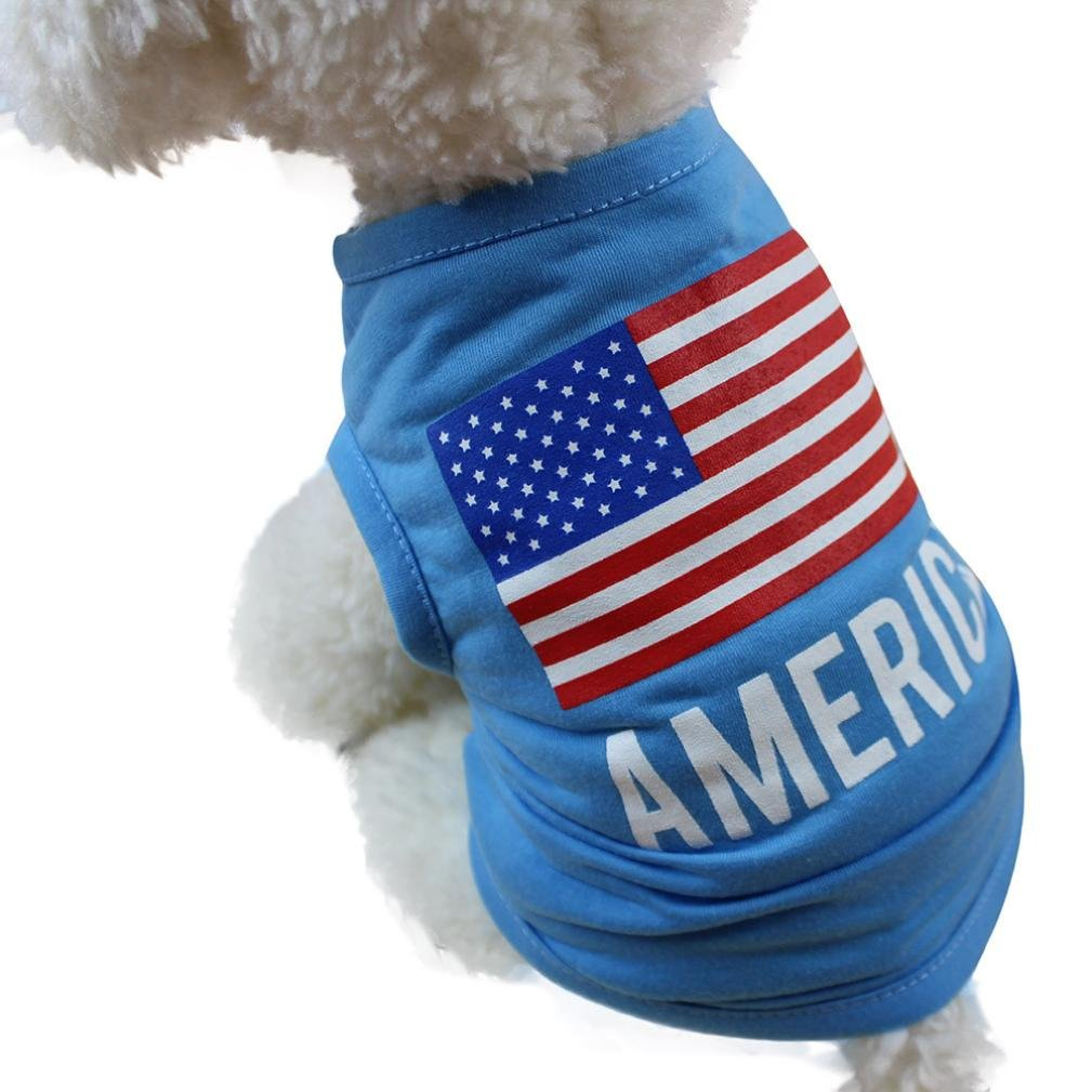 Wakeu Pet Shirt USA Flag Style Small Dog Clothes Pet Puppy Cat Costume Summer Apparel (M, Blue)