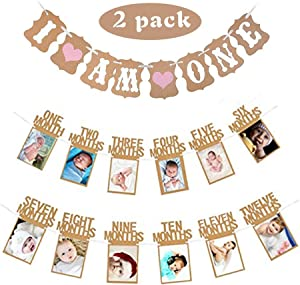 """Baby First Birthday Decorations Banner""""I AM ONE""""and 1-12 Months Photo Rope Banner for Baby Girl 1st Birthday Party Supply"""