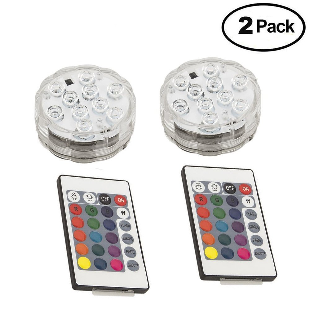 iMagitek Submersible 10-LED RGB 16 Colors Changing Waterproof Light for Aquarium, Vase Base, Pond, Swimming Pool, Garden, Party, Wedding, Christmas, Halloween, Home Decorations - 2 Pack