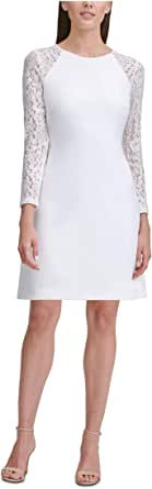 TOMMY HILFIGER Womens White Lace Sleeves Solid Long Sleeve Jewel Neck Short Sheath Evening Dress Petites US Size: 8P