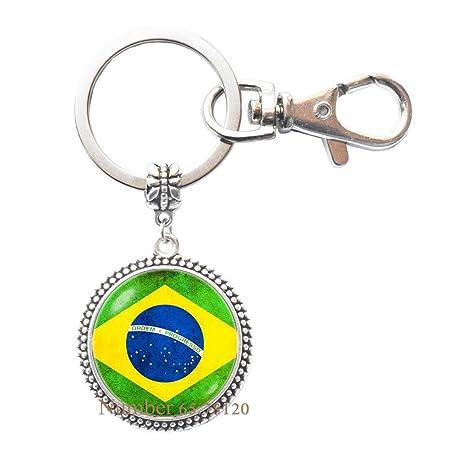 Amazon.com: Llavero bandera de Brasil, bandera brasileña ...