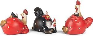Chubby Black Red Polka Dot Chickens 6 x 6.25 Terra Cotta Tabletop Figurine Set 3