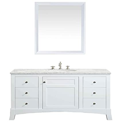 eviva evvn514 48wh new york white bathroom vanity with white marble rh amazon com 48 inch white bathroom vanity with top 48 inch off white bathroom vanity